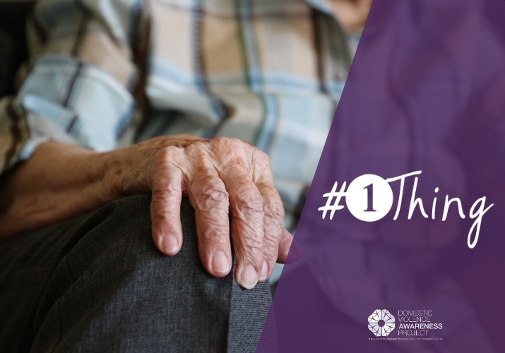 Elderly person hand on knee #1thing logo