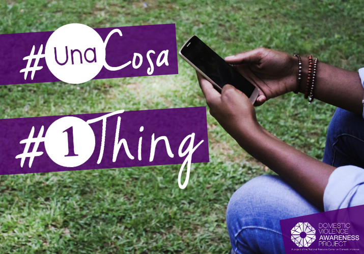 Hands holding a mobile phone. #UnaCosa #1Thing