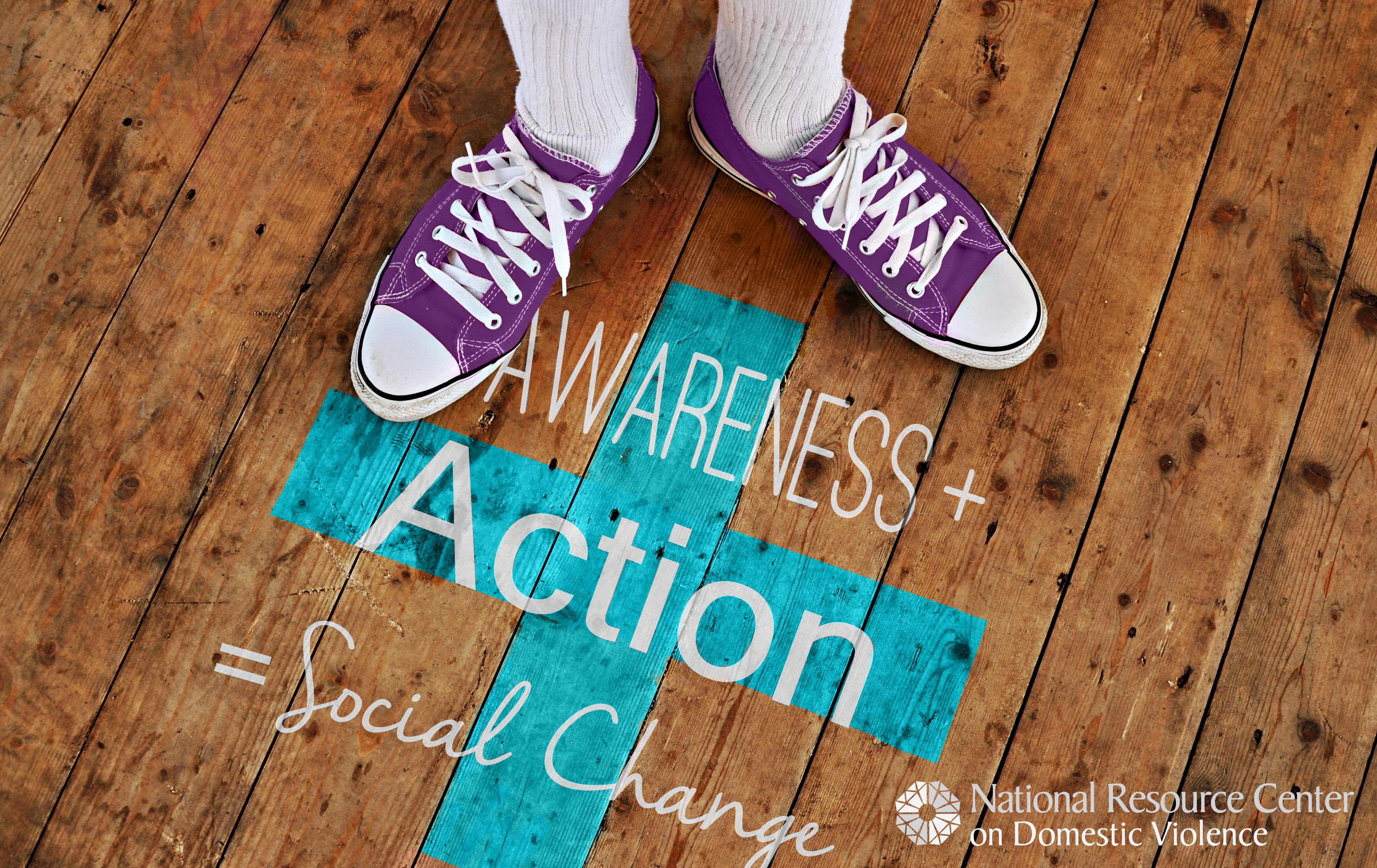 Image of feet on a floor with Awarebess + Action = Social Change logo printed on the floor