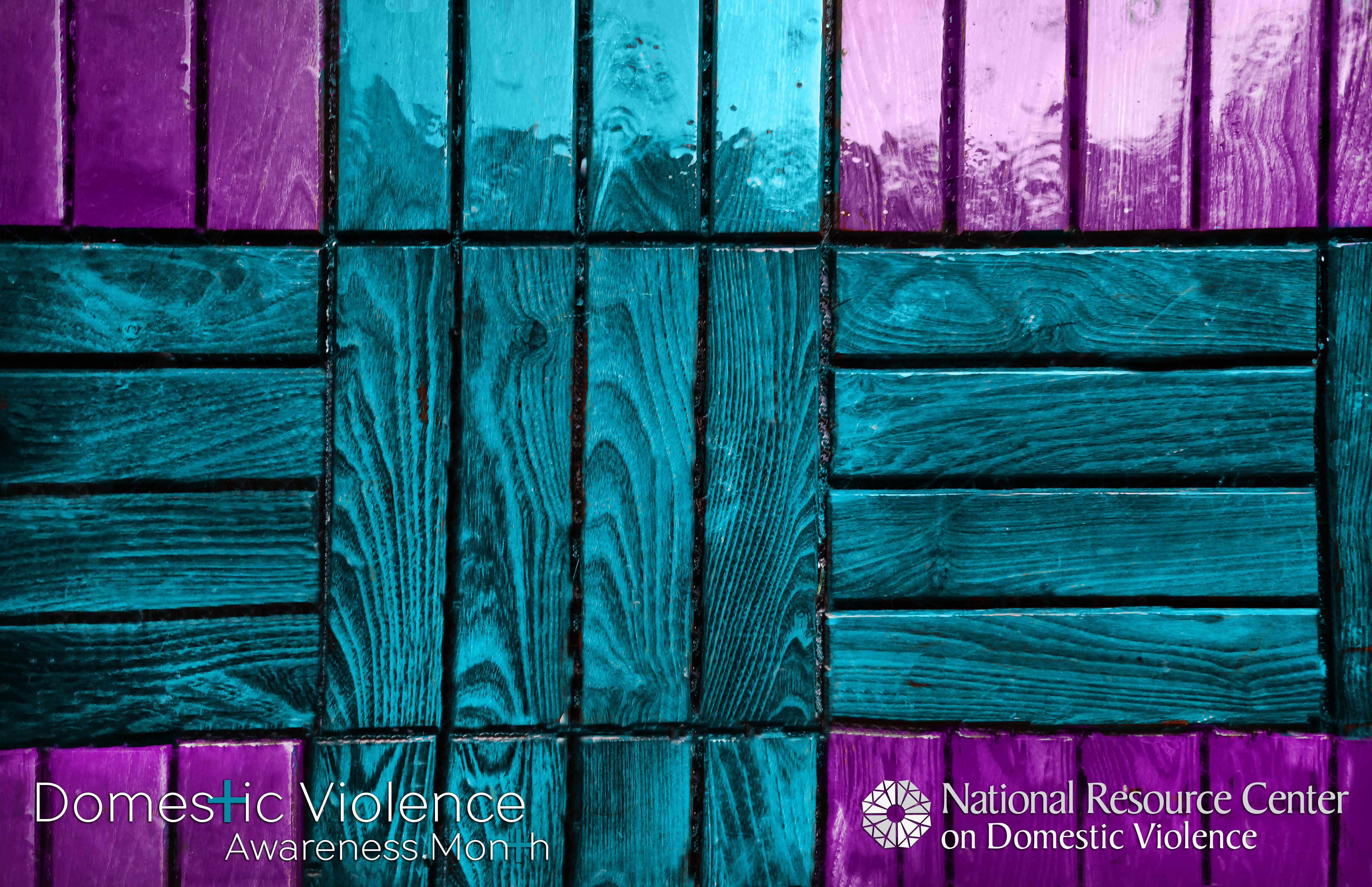 Purple stained wooden floor with teal stained wooden floor with NRCDV and DVAM logos on top