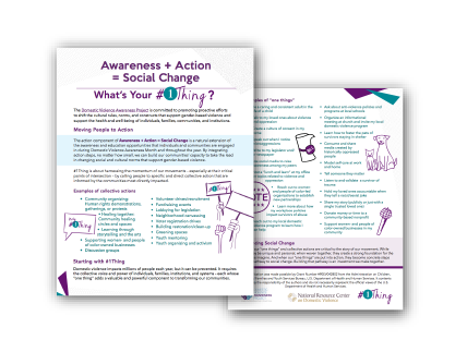 Awareness + Action = Social Change: What's Your #1Thing? document front & back