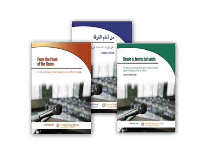 From the Front of the Room: An Advocate's Guide covers for English, Spanish & Arabic  versions