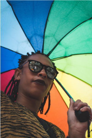person holding a rainbow umbrella