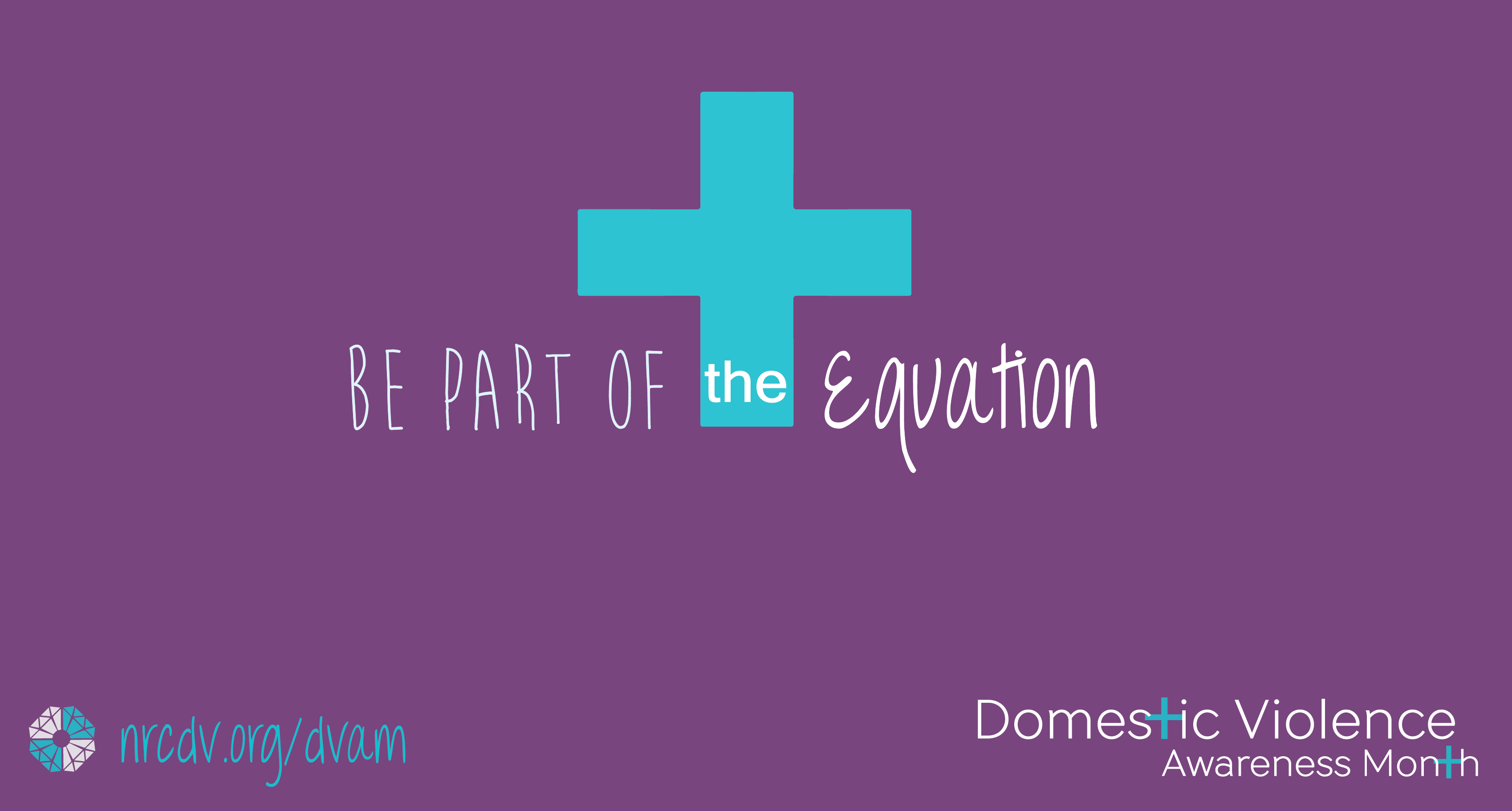 dvam banner. purple bkgd blue logo white text: be part of the equasion