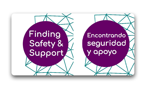 "Title portion of our Finding Safey brochures in both english and spanish ""Finding Safety & support"" and ""encontrado sguridad y apoyo"""