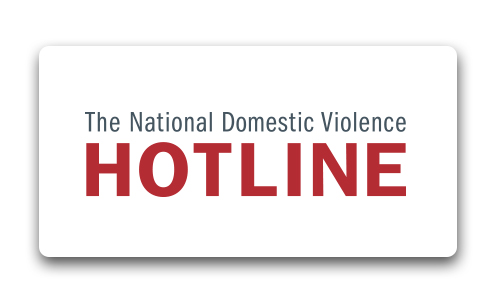 "National Domestic Violence Hotline Logo. National Domestic Violence in grey letters above large bold red ""hotline"""