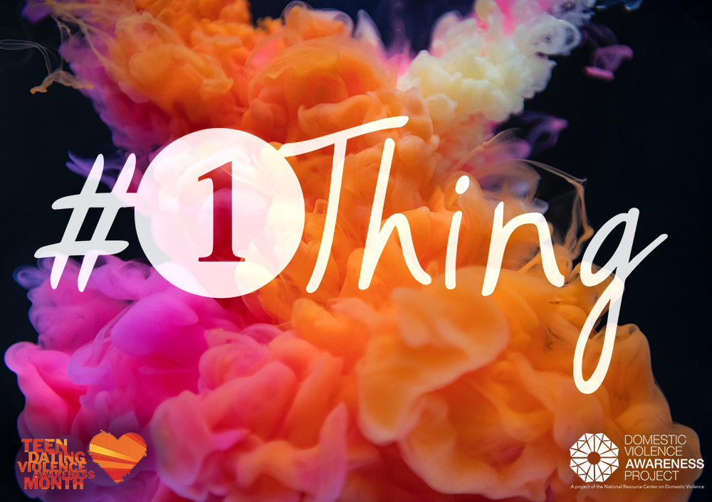 #1Thing logo imposed over image of orange and pink swirling ink