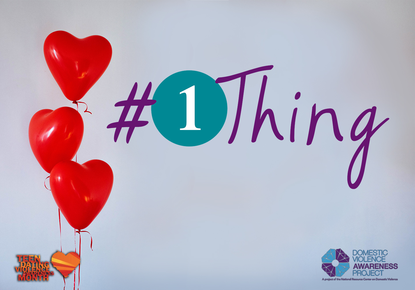 #1Thing logo imposed over image of red heart balloons