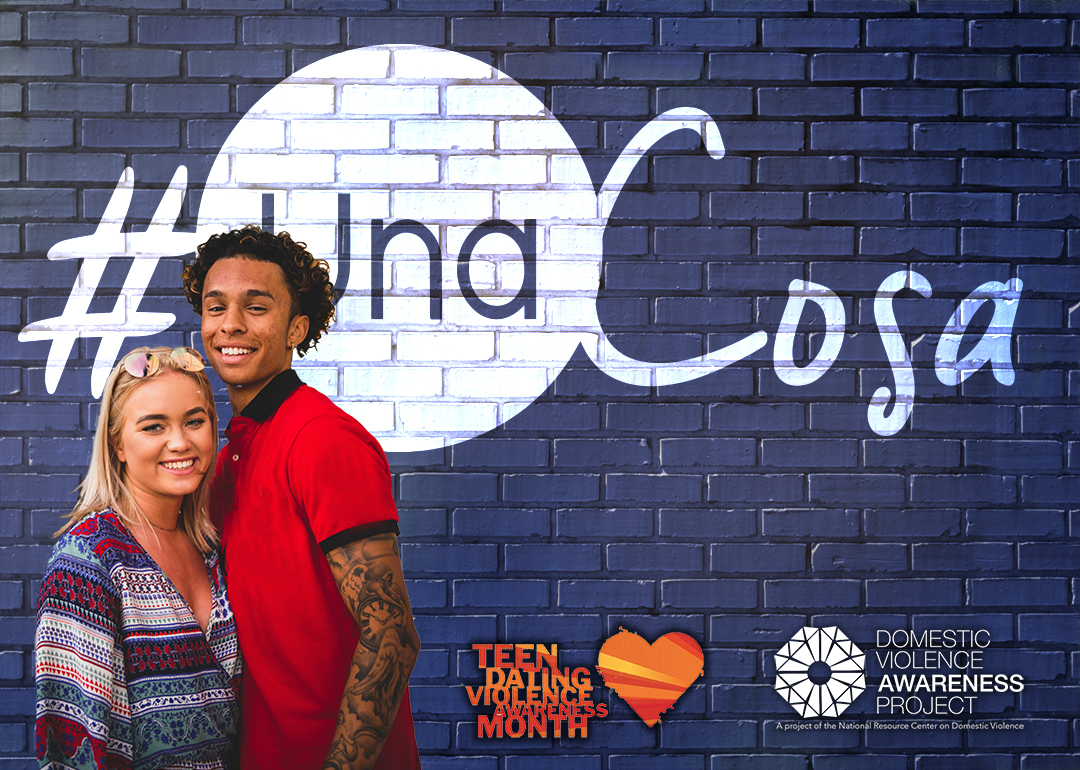 #UnaCosa logo imposed over image of young couple