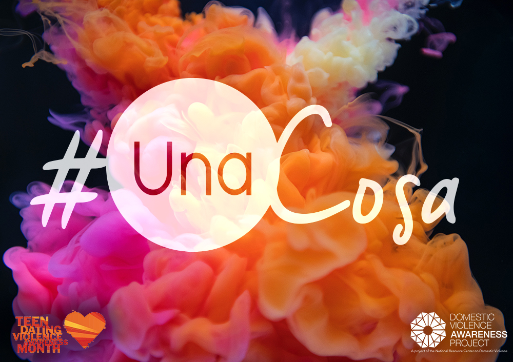 #UnaCosa logo imposed over image of orange and pink swirling ink