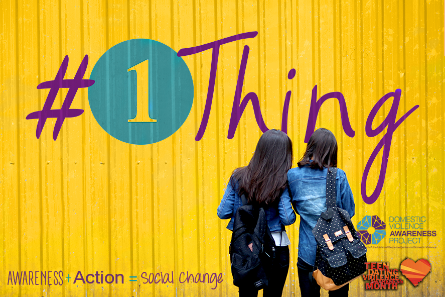 image of two girls in front of yellow wall with #1thing logo