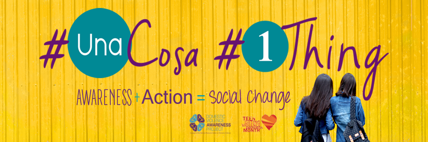 Colorful image of two women facing a bright yellow wall that displays the Una Cosa and 1 Thing Logos and the equasion Awareness + Action = Social Change
