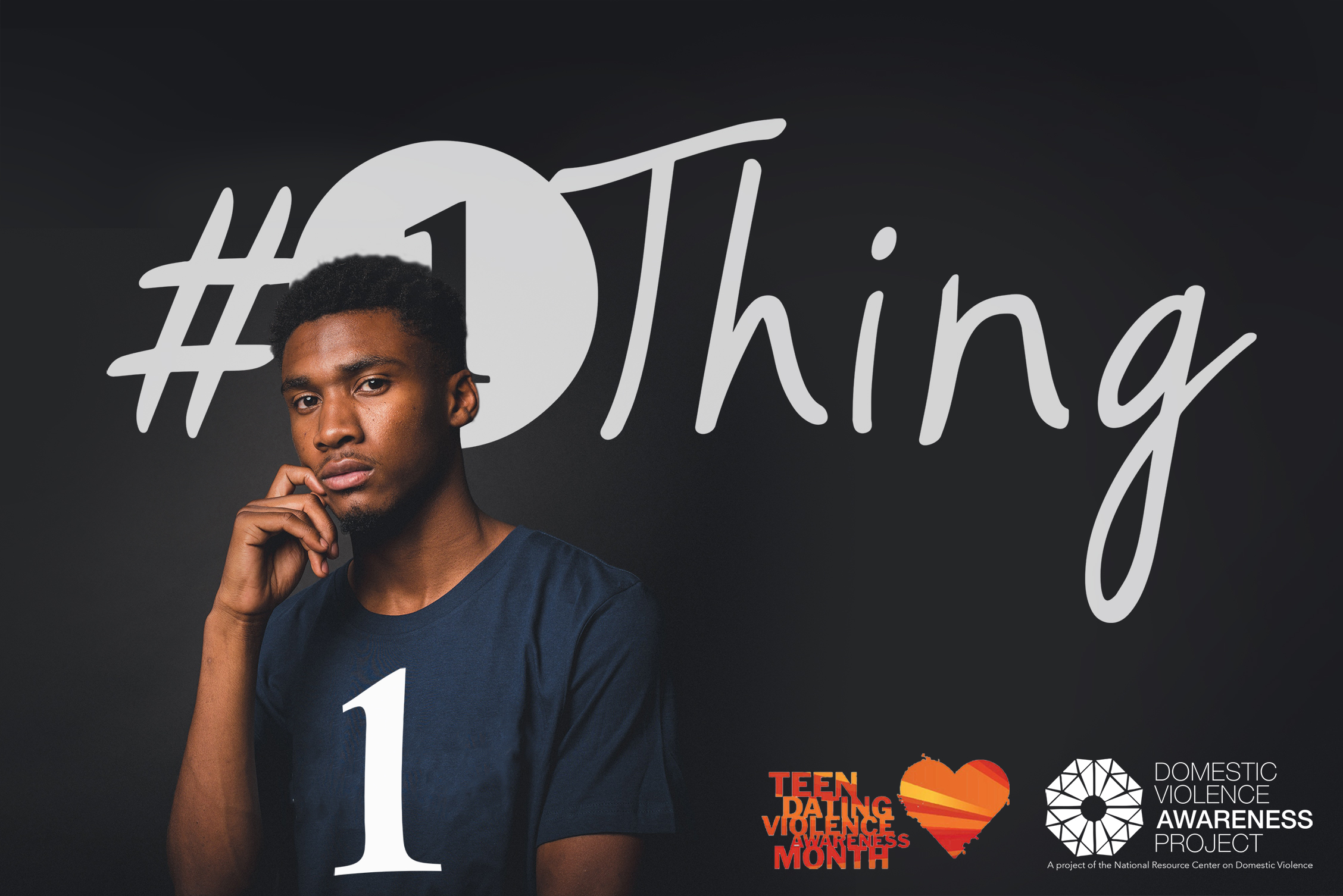 #1Thing logo imposed over image of boy in a 1 T-shirt