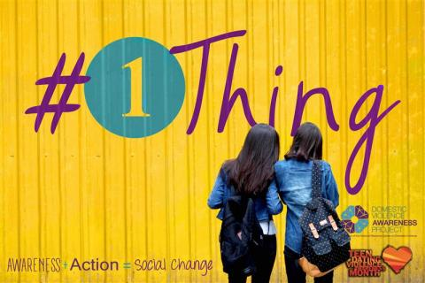 Bright yellow background with #1Thing logo. Two young women standing in front of logo with their backs to audience. Both have backpacks over their shoulder. Awareness + Action = Social change logo at bottom. DVAP & TDVAM logos.